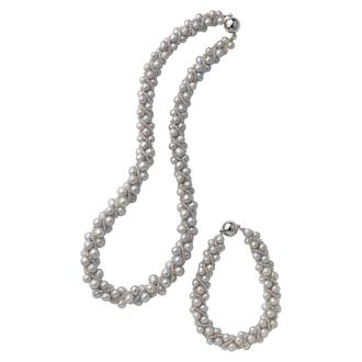 淡水珍珠灰色敞篷项链
