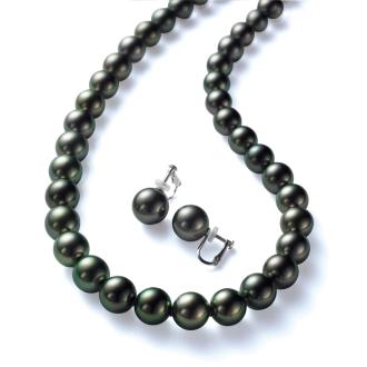 Tahiti Rikitia black butterfly peacock color pearl set (necklace + Earrings)