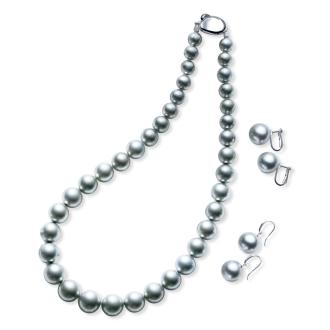 Tahitian Rikitia gray pearl necklace set