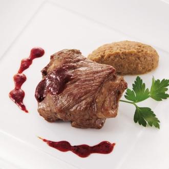 銀座「マルディ グラ」 ラム肉のステーキ(パプリカはちみつソース) 【通常お届け】