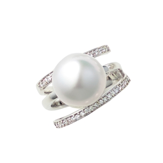 K18WG12毫米白蝶珍珠鑽石戒指