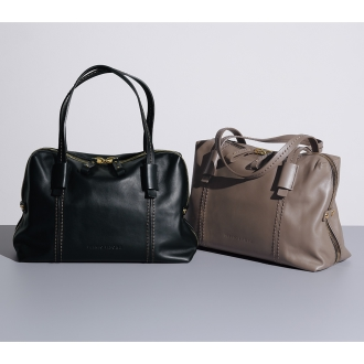 PLINIO VISONA / Purinio Visona stitch design Boston bag (made in Italy)