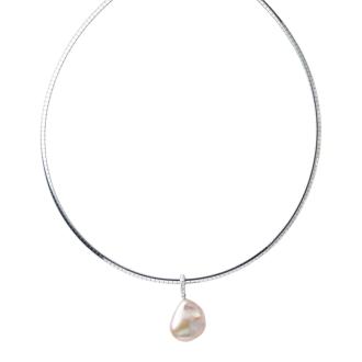 粉色淡水珍珠的巴洛克式歐米茄鑽石吊墜