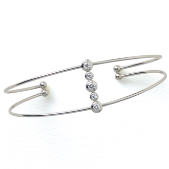 K18WG 0.2ct diamond bangle