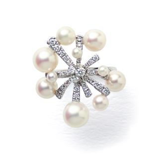 鉑0.5ct鑽石日本Akoya珍珠花設計戒指