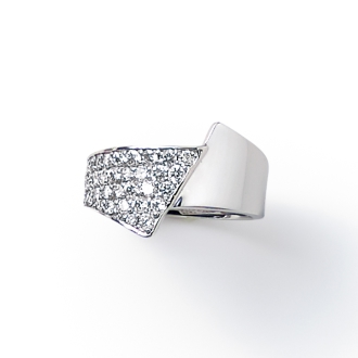 K18WG 0.5ct Diamond Pave pinky ring