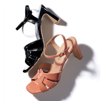 Ankle strap sandals enamel