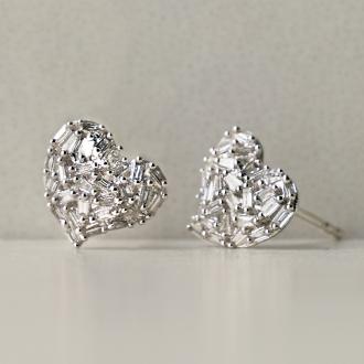 K18WG 0.2ct尖顶长方形钻石耳环心脏