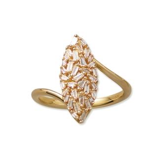 K18 0.25ct尖頂長方形鑽石設計環