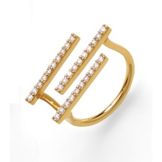 K18 0.35ct的钻石三线环