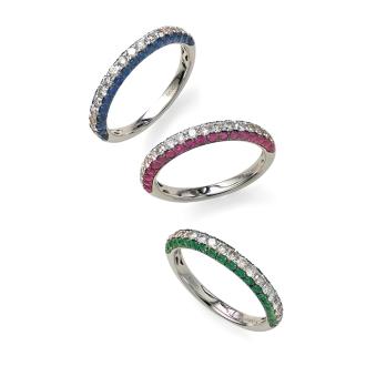 K18WG 0.35ct的鑽石×彩石半永恆戒指