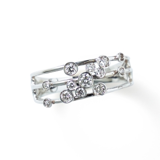 K18WG 0.25ct diamond design ring