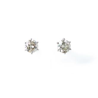 Pt 1.0ct grain diamond earrings