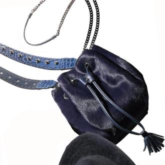Gianni Pizzini / Gianni pin Jini pony fur leather 2WAY drawstring bag (made in Italy)