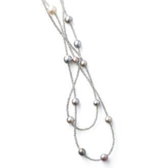 8〜11毫米黑蝴蝶多色珍珠拉長長項鍊
