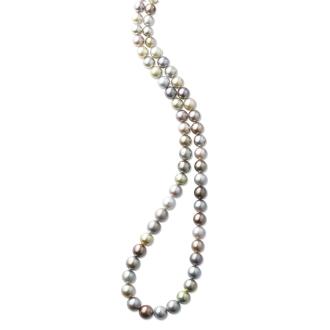8〜11毫米黑蝴蝶多色珍珠梯度长项链