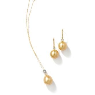 K18 gold pearl set (pendant + Earrings)