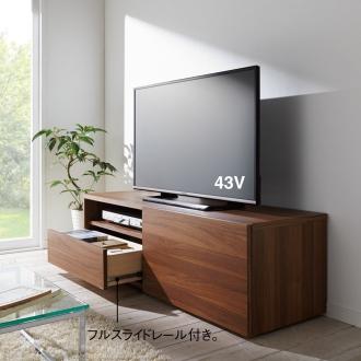 ベッドサイドの引き戸隠しキャスター付きテレビ台 ロータイプ 幅140奥行45高さ42.5cm