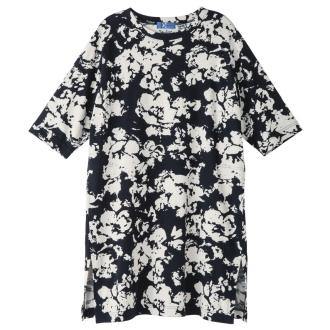 bx/ビーエクス エアースムース 墨影プリントチュニックTシャツ 【大きいサイズ L・LL・3L・4L】