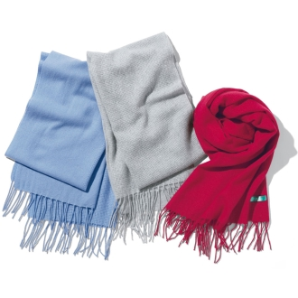 100% cashmere stole switching the weaving pattern