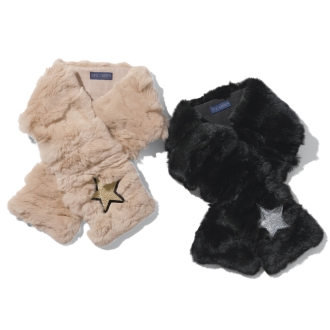 TIPI CURREN / Tipikaren star embroidery Rex fur scarf