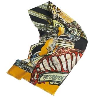 MALFROY/マルフロイ パリの建物柄 ウールシルクスカーフ(フランス製)