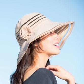 ディノス オンラインショップ涼感サラサラつば広 コンパクト帽子(コサージュ付)