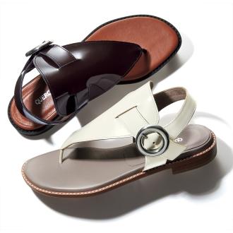 皮钳平底凉鞋