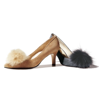 Fox fur suede pumps