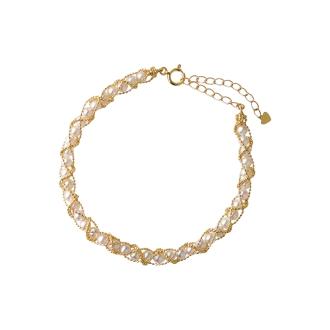 K18 Akoya baby pearl weave bracelet