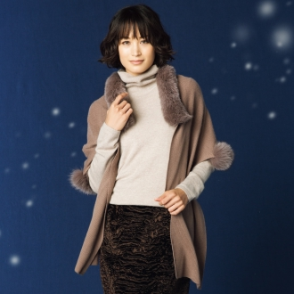 Fox fur with cashmere knit stall