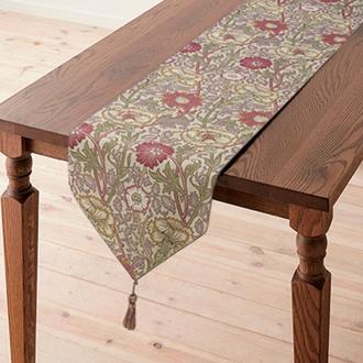 モリスデザインスタジオ ジャカード織テーブルランナー ピンク&ローズ