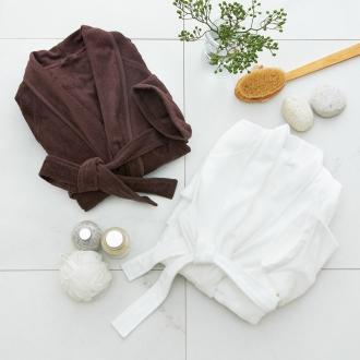 無撚糸使用の極薄柔らかバスローブ(男女兼用)