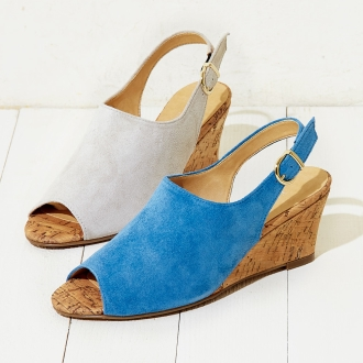 AQUALEATHER(R)/ AQUA皮革打开趾楔凉鞋