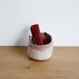 Musukan felt pot natural pink