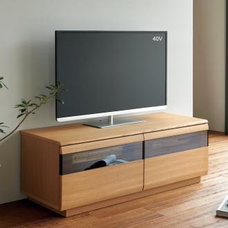 タモ材ブロンズガラスアールデザインシリーズ テレビ台 幅120cm