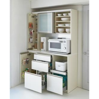マンションサイズのオールインワン食器棚 幅120cm・高さ187cm [パモウナ BS-1200R]