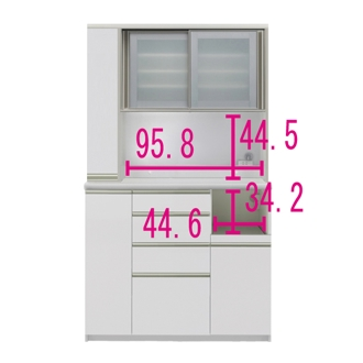 マンションサイズのオールインワン食器棚 幅120cm・高さ203cm [パモウナ MS-1200R]
