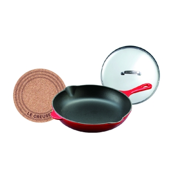 "LE CREUSET / Le Creuset ""oven and grill"" skillet 20cm (with Garasufuta + cork coaster)"