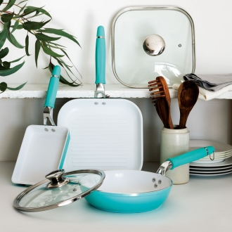 Ceramic frying pan dinos special 3-piece set Hazuseru is Kebunhaun handle