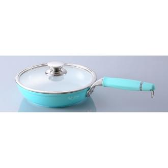 Kebunhaun ceramic frying pan 24cm the handle is Hazuseru (with glass lid)