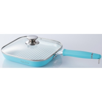 Kebunhaun ceramic handle Hazuseru grill pan (with glass lid)