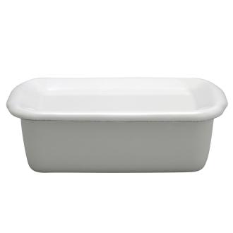 Noda Horo white series rectangular deep M-porcelain enamel lid
