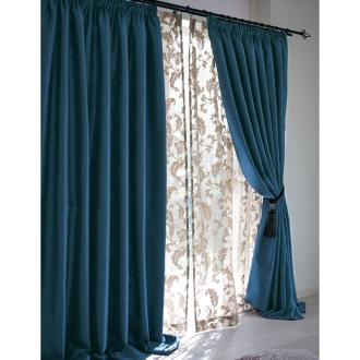 ディノス オンラインショップ幅60〜110x丈135cm(1枚)(ギャザースタイルカーテン)ネイビー