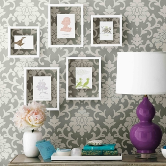 Stuck To Peel Off Wallpaper Gray Damask About 52 X 500cm