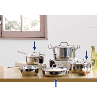 """With benefits! Dr. Hattori stainless steel 7-story structure pot """"geo"""" Basic 3-piece set"""