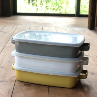Enamel can also cooking container enamel oven dish shallow M 1.6L