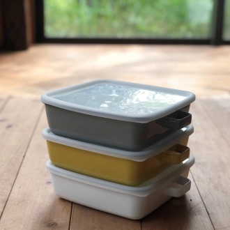 Enamel can also cooking container enamel oven dish Square 1.8L