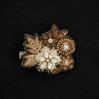 Beads embroidery brooch snow flowers