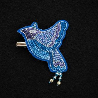 ビーズ刺繍のブローチ 青い鳥